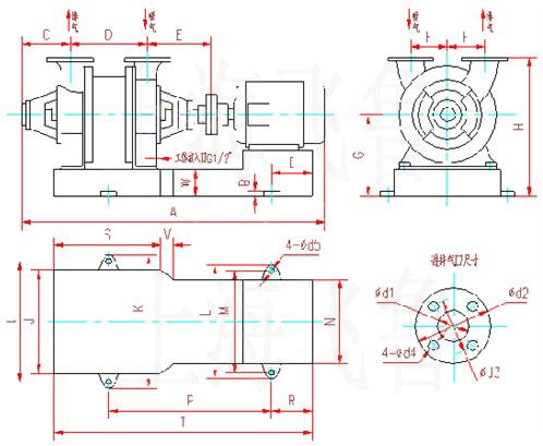 sk-3水环式真空泵及压缩机外形及安装尺寸图